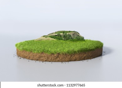 Realistic 3D rendering circle cutaway terrain floor with rock isolated, 3D Illustration round soil ground cross section with earth land, green grass and mountain
