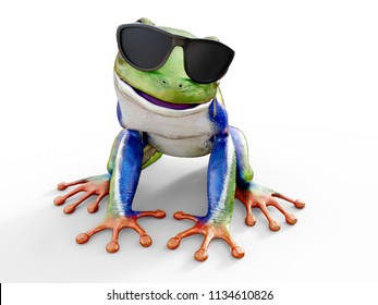 Realistic 3D rendering of a green, blue and orange colored red-eyed tree frog, Agalychnis callidryas, sitting on a white floor and wearing sunglasses, looking like it's smiling.