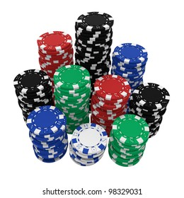 Realistic 3d rendering of large stacks of colorful casino chips, isolated on white background and with path