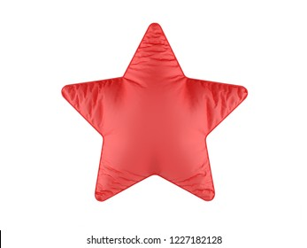 Realistic 3d soft red pillow in shape of star. Red pillow on white background.