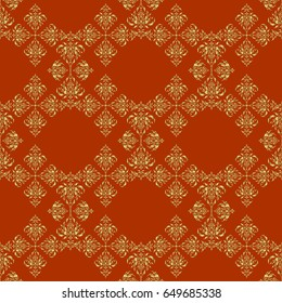 Realistic abstract golden seamless pattern. Metallic elements for frame, ribbon, banner, mandalas. Elegant light and shine template on brown background. Golden gradient seamless texture.