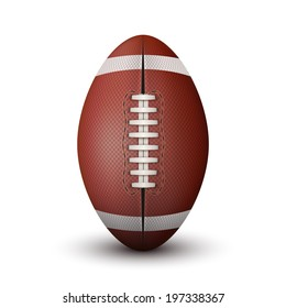 Realistic American Football ball isolated on a white background. Bitmap copy. Rugby sport.