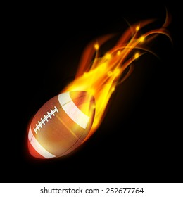 Realistic American football in the fire.3d Illustration on dark background.