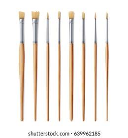 Realistic Artist Paintbrushes Set. Paint Brush Set Isolated On White Background.
