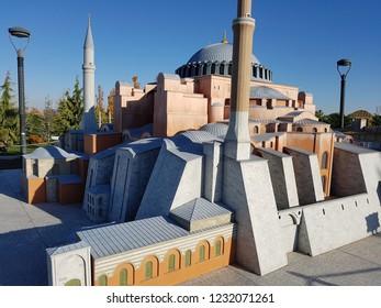 Realistic Ayasofya mosque miniature. Konya 80 Binde Devr-i Alem Parki. Konya - Turkey. 6 November 2018.