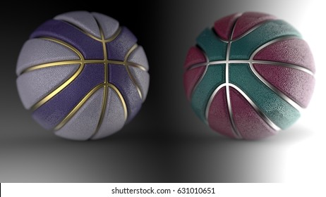 Realistic Basketball Design Background. 3D illustration. 3D CG. High resolution.