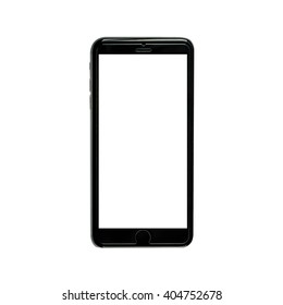 Realistic black mobile phone with white  blank screen