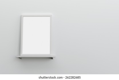 Realistic blank frame on white shelf and wall black and white