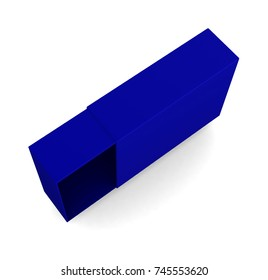 Realistic blue open box isolated on white background. 3d illustration