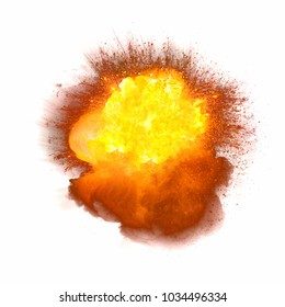 Realistic bomb explosion with fire and sparks isolated on white background