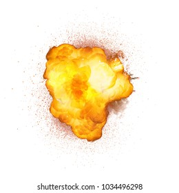 Realistic bomb explosion with sparks isolated on white background