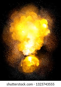 Realistic bomb hot explosion, orange color with white sparks isolated on black background