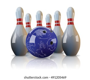 Realistic bowling ball and six bowling pins on white background with mirror reflection.