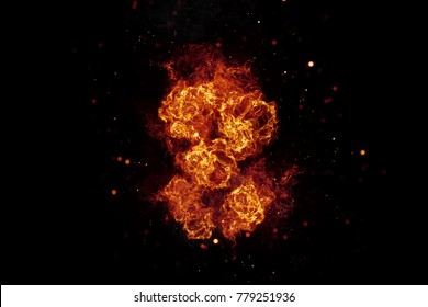 Realistic burning fire flames frame with sparks and smoke, explosion effect on black background.
