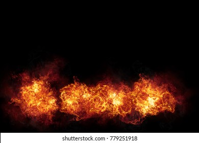 Realistic burning fire flames with sparks and smoke with copy space, explosion effect on black background.