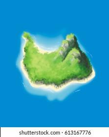 Realistic Cartoon illustration of a beautiful island paradise.