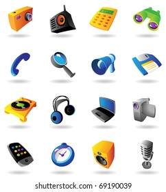 Realistic colorful icons set for various devices on white background. Raster version. Vector version is also available.