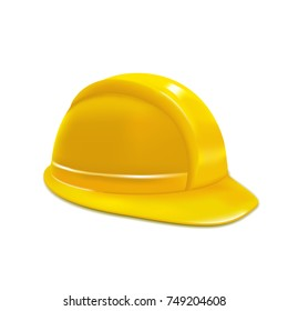 Realistic Construction or Working Safety Yellow Helmet or Hat Design Element Web. illustration