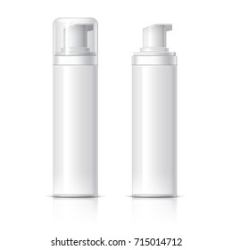 Realistic Cosmetic bottle can sprayer container. Dispenser for cream, soups, foams and other cosmetics With lid and without. Template For Mock up Your Design. 3D illustration