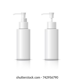 Realistic Cosmetic bottle can sprayer container. Dispenser for cream, soups, and other cosmetics With lid and without. Template For Mock up Your Design. 3D illustration.