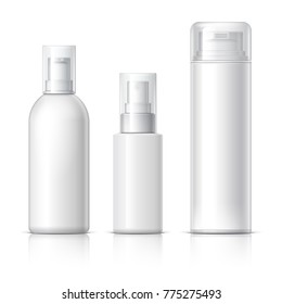 Realistic Cosmetic bottle can sprayer container. Dispenser for cream, soups, and other cosmetics With lid. Template For Mock up Your Design. 3D illustration.