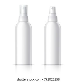 Realistic Cosmetic bottle can sprayer container. Dispenser for cream, soups, and other cosmetics With lid and without. Template For Mock up Your Design.  3D illustration