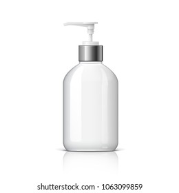 Realistic Cosmetic translucent bottle. Dispenser for cream, soap, and other cosmetics. Template For Mockup Your Design. 3D illustration.