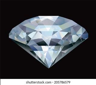 Realistic diamond illustration on black background