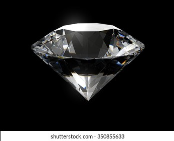 Realistic diamond isolated on black background with caustic light.