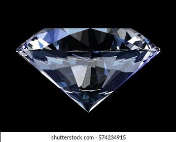 Realistic diamond isolated on black background, 3d illustration.