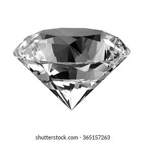 Realistic diamond isolated on white .