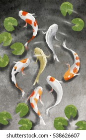 realistic digital painting seven white orange black dot and silver and gold carp in clear water cement floor pond background,lotus leave background,lucky fish,east sculpture,asia mascot,koi fish,koi