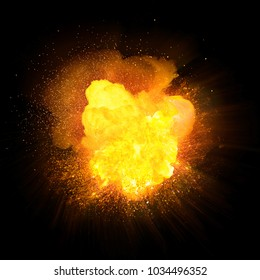 Realistic dynamic hot explosion with sparks and yellow smoke isolated on black background