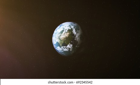 Realistic Earth at Night and Sun Flares around Asia