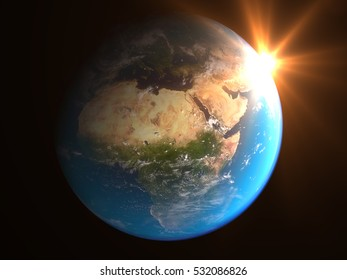 Realistic Earth planet globe with cities nightlights orbiting the Sun (3d illustration) Elements of this image furnished by NASA