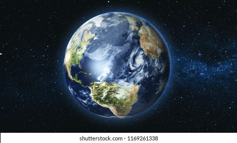 Realistic Earth Planet, rotating on its axis in space against the background of the Milky Way star sky. Astronomy and science concept. Continents and oceans. Elements of image furnished by NASA