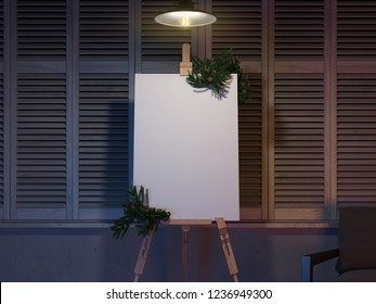 Realistic easel and blank white canvas with christmas decoration.