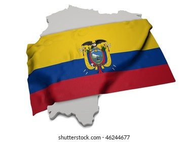 realistic ensign covering the shape of Ecuador (isolated shape series)