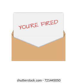 Realistic envelope of yellow paper with a letter, notice you are fired, flat icon.