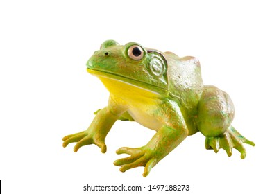Realistic fake plastic frog sitting isolated on white background with clipping path cutout