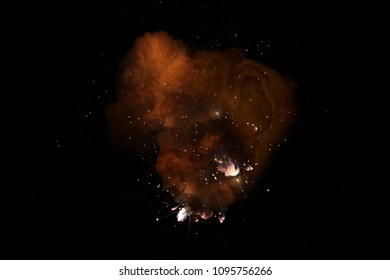 Realistic fiery bomb dark explosion with sparks and smoke isolated on black background