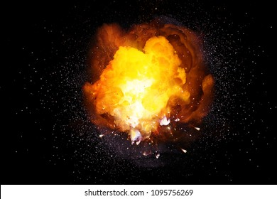 Realistic fiery bomb explosion with sparks and smoke isolated on black background