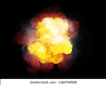 Realistic fiery bomb explosion with white sparks and orange smoke isolated on black background