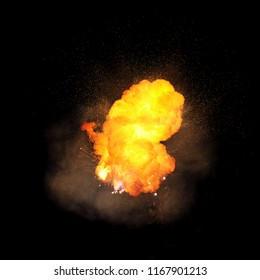 Realistic fiery explosion, orange color with sparks and smoke isolated on black background