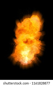 Realistic fiery vertical explosion, orange color with sparks isolated on black background