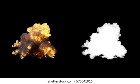 Realistic fire blast explosion with smoke in slow motion, impressive huge explosion , isolated on alpha channel with black and white matte, perfect for post-production, digital composition