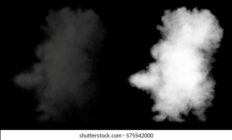 Realistic fire blast explosion with smoke in slow motion, view from above, impressive huge explosion, isolated on alpha channel with black/white matte, perfect for post-production, digital composition
