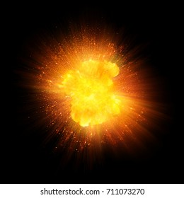 Realistic fire explosion, blast of orange color with sparks isolated on black background