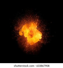 Realistic fire explosion, orange color with sparks isolated on black background