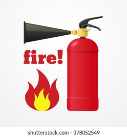 Realistic fire extinguisher with emergency flame sign, danger or fire symbol